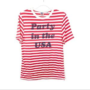 Junk Food Red Stripe Party In The USA Tee Small